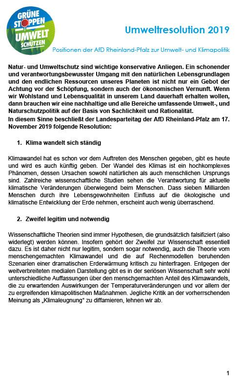 Umweltresolution der AfD Rheinland-Pfalz